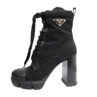 プラダ(PRADA)のプラダ トライアングルロゴ ブーティー ショートブーツ 37 24.0cm 黒(ブーツ)