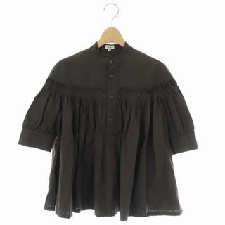 サイ(Scye)のサイ SCYE リネンタックブラウス シャツ 半袖 プルオーバー 36 茶(シャツ/ブラウス(半袖/袖なし))