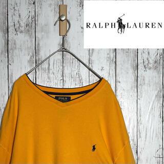 ポロラルフローレン(POLO RALPH LAUREN)の【美品】ラルフローレン 長袖 ロンT 黄色XL 刺繍ロゴ ポニー 古着 ゆるだぼ(Tシャツ/カットソー(七分/長袖))