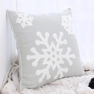 クッションカバー  雪の結晶 ライトグレー クリスマス 1枚