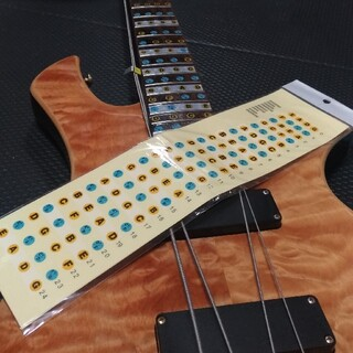4弦ベース用 指板音名シール 24フレット対応(エレキベース)