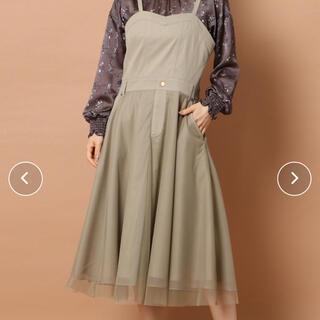 ローズティアラ(Rose Tiara)のデニムサロペットチュールスカート 46サイズ(ひざ丈ワンピース)