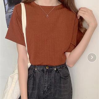 細リブTシャツ 秋色ブラウン 重ね着やカーディガンの下にも♡