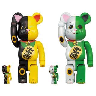 MEDICOM TOY - BE@RBRICK 招き猫 黒×黄 白×緑 100% & 400% セット