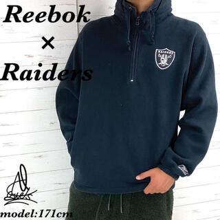 リーボック(Reebok)の《ハーフジップ》Reebok Raiders スウェット L☆ブラック 黒 刺繍(スウェット)
