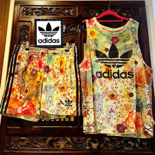 アディダス(adidas)のアディダス ファーム コラボ 花柄 セットアップ タンクトップ パンツ ジャージ(Tシャツ(半袖/袖なし))