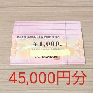 【株主優待券】ビックカメラ 45,000円分(ショッピング)