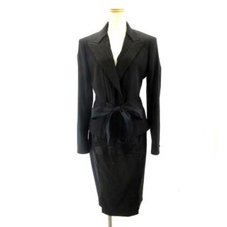 イヴサンローランリヴゴーシュ スカートスーツ 黒 ブラック F38 F40 約M(スーツ)