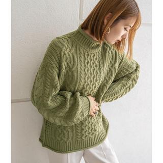Mila Owen - rectangle  モックネックケーブルニット グリーン 緑