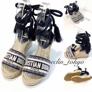 Christian Dior - 新品同様 DIOR フリンジストラップ ウェッジ サンダル E3133