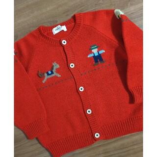 familiar - ファミリア レトロ 旧タグ 刺繍 100 カーディガン セーター 赤色