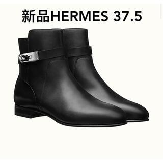 Hermes - 新品 エルメス ショートブーツ ネオ 37.5 シルバー金具 ケリー ブラック