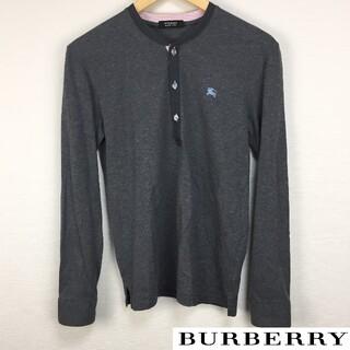 バーバリーブラックレーベル(BURBERRY BLACK LABEL)の美品 BURBERRY BLACK LABEL 長袖カットソー グレー サイズ2(Tシャツ/カットソー(七分/長袖))