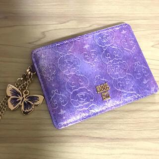ANNA SUI - アナスイANNASUI蝶々バタフライチャーム定期入れパスケースパープル紫チェーン