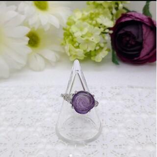 天然石リング(指輪) アメジスト薔薇彫り、シルバー925(リング(指輪))