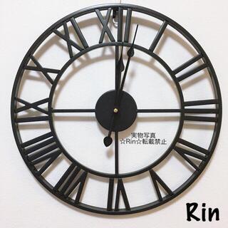 【新品】アイアン掛け時計 ブラック アンティーク ウォールクロック