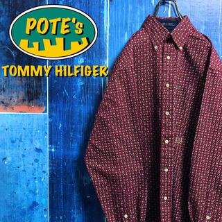 TOMMY HILFIGER - 【トミーヒルフィガー】オールド刺繍ロゴ小紋柄レトロ総柄シャツ 90s