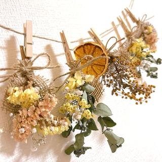ドライフラワー スワッグ ガーランド ミモザ ユーカリ スターチス 紫陽花(ドライフラワー)