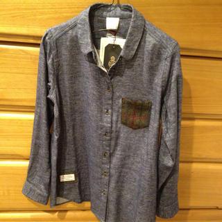 シマムラ(しまむら)の値下げ 新品 しまむら ハリスツイード ブルーネルシャツ 丸襟 M(シャツ/ブラウス(長袖/七分))