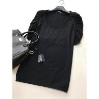 PRADA - PRADA シルク ニット フリル プラダ シャーリング ブラック 黒