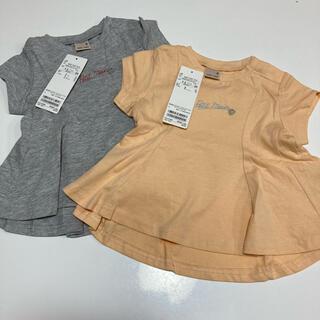 プティマイン(petit main)の《新品、未使用》プティマイン チビロゴAラインTシャツ 80cm 2枚セット(Tシャツ)