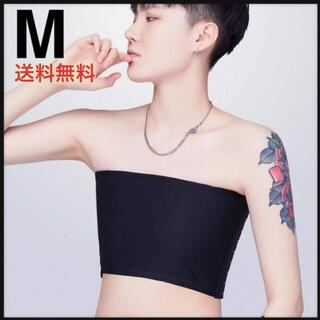 3段調整【黒M】ナベシャツ ベアトップ サラシ 胸つぶし 男装 コスプレ(コスプレ用インナー)