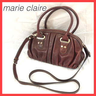 Marie Claire - マリクレール ハンドバッグ ショルダーバッグ レザー ミラー付き ブラウン 赤紫