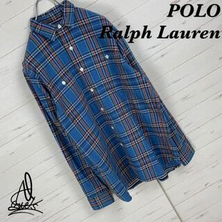 ポロラルフローレン(POLO RALPH LAUREN)の《バックロゴ》ポロラルフローレン シャツ M☆ブルー 青基調 チェック柄(シャツ)