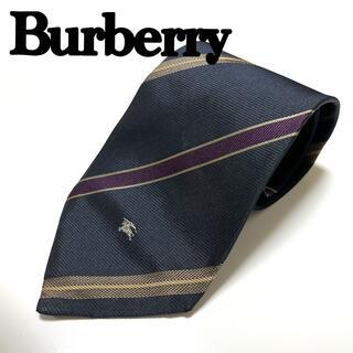 BURBERRY - バーバリーネクタイ Burberry ストライプ 紫