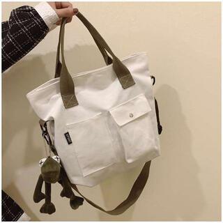 新品‼️ ホワイト トートバッグ レディース キャンバス 韓国 サブバッグ