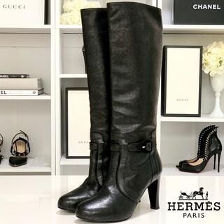 エルメス(Hermes)の2458 エルメス レザー ロングブーツ 黒(ブーツ)