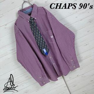 ポロラルフローレン(POLO RALPH LAUREN)の《縦ストライプ》CHAPS チャップス BDシャツ XXL☆刺繍ロゴパープル 紫(シャツ)