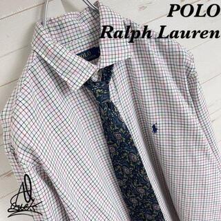 ポロラルフローレン(POLO RALPH LAUREN)の《刺繍ロゴ》POLO RalphLauren シャツ L☆ホワイト 白 チェック(シャツ)