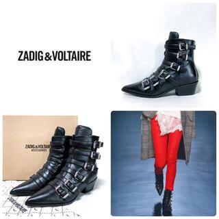 ザディグエヴォルテール(Zadig&Voltaire)の■美品 定8.3万 ザディグエヴォルテール ショートブーツ 38 24 黒(ブーツ)