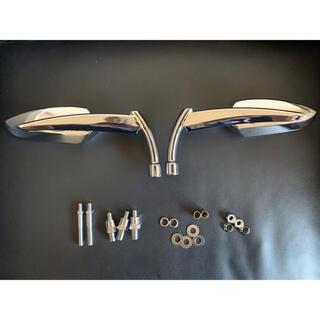 Harley Davidson - ハーレーボルト付 ブレットミラー シルバー 8mm 10mm 逆ネジダ