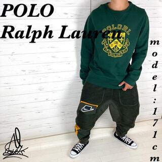 ポロラルフローレン(POLO RALPH LAUREN)の《大人気カラー》ラルフローレン スウェット L☆グリーン 深緑 デカロゴ(スウェット)