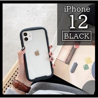 iPhone12 黒 ケース クリア 透明 iFace風 韓国 カバー 保護