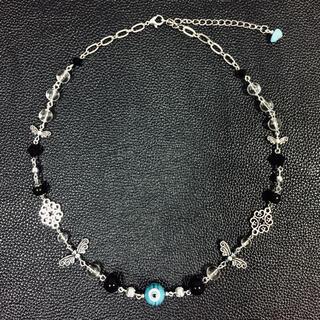 【美品】STUGAZI風ナザールボンジュウ黒パールチェーンネックレス(ネックレス)