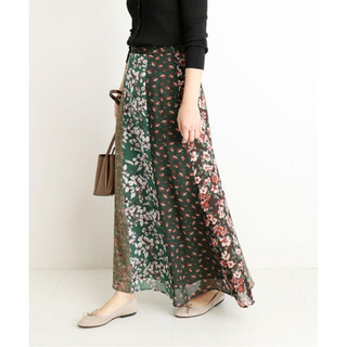 IENA - 美品*SLOBE IENA LISA フラワーパネルスカート 38*カーキ