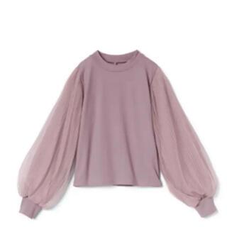 グレイル(GRL)のグレイル 袖チュールプリーツドッキングトップス 美品!(Tシャツ(長袖/七分))