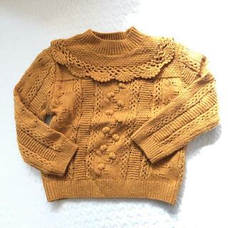 ザラキッズ(ZARA KIDS)のZARA baby ニット 2-3y セーター 98cm フリル ポンポン刺繍(ニット)