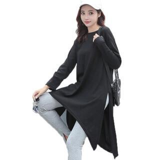 【ブラック】オーバーサイズ ロング 長袖 Tシャツ ロンT(Tシャツ(長袖/七分))