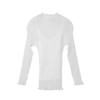 ルシェルブルー(LE CIEL BLEU)の美品 ルシェルブルー Sheer Rib Knit Tops(シャツ/ブラウス(半袖/袖なし))