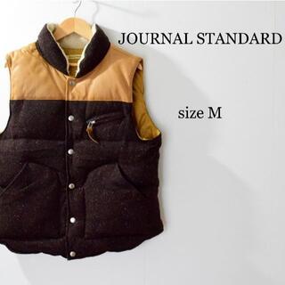 JOURNAL STANDARD - ジャーナルスタンダード ボア レザー×ツイード スナップボタン ダウンベスト M