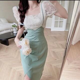 ディーホリック(dholic)の韓国風 ハイウエストミントグリーンスカート(ミニスカート)