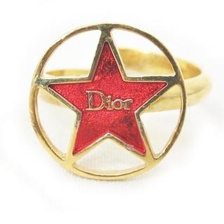 Christian Dior - クリスチャンディオール リング 指輪 Diorロゴ スター ゴールド レッド 系