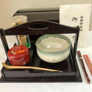 新品!手提茶箱揃 木製!日本製高級水屋茶道セット 扇子 楊枝付き