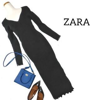 ZARA - ❥ ザラ ❥ ニット タイトワンピース ロングワンピース L 黒 ブラック