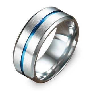 指輪 メンズ リング ステンレス ブルー センターライン シンプル 重厚 ◎