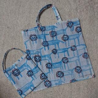 mina perhonen - ミナペルホネンlook ブルー A4バック収納袋付き ハンドメイド